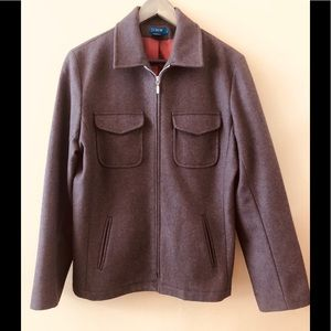 J. Crew Women's Brown Wool Zip Up Coat.